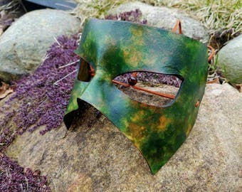 Camouflage Green Leather Masquerade Mask