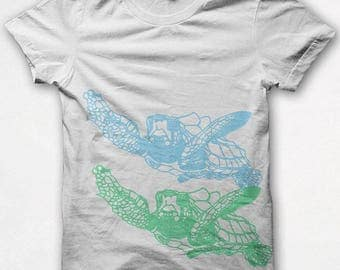 Womens Tshirt, Sea Turtle, Fitted Shirt, Graphic Tee, Screenprinted - White