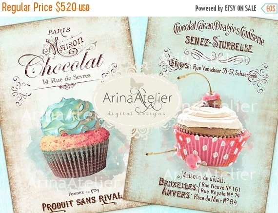 SALE 70% OFF - Shabby Chic Patisserie - Large Images - Backgrounds - 5x7 inch - Digital Print - Ephemera Sheet - to print on- Tote, Bags, t-