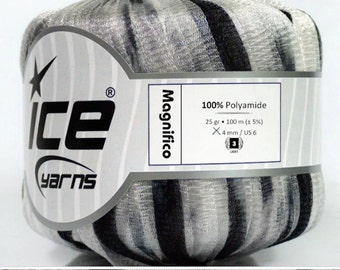 ICE YARNS MAGNIFICO black white 3 light dk worsted polyamide ribbon knitting crochet supplies 45212