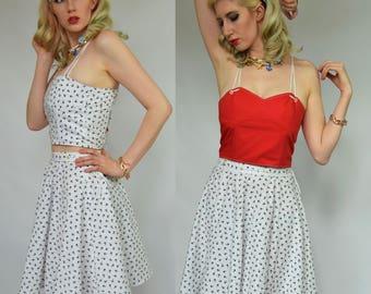 2 piece reversible dress Red pin up dress Reversible co ord 2 way Nautical dress Modern pinup dress Anchor dress Bralet co ord 40s dress