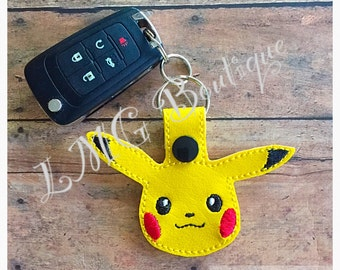 Pikachu Snap Tab Key Fob -Pokemon key chain -  Embroidery -