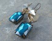 SALE 50% off Large Blue Earrings, Blue Rhinestone Earrings, Golden Crystal Earrings, Blue Zircon Jewelry, December Birthstone, Gift for Her