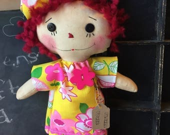 Primitive Raggedy Annie - Flower Power- Pink/Yellow - ragdoll
