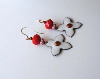White Star Earrings, Artisan Enamel Earrings, Red Striped Earrings, Boho Earrings, Cross Earrings, Bright Red Earrings, Cross Earrings