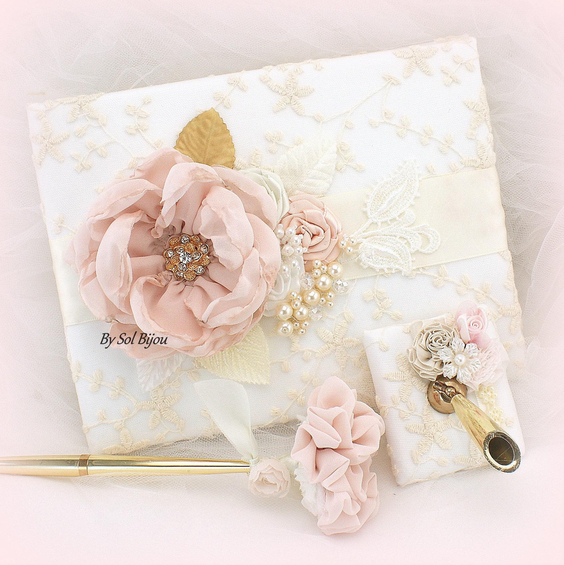 Lace Blush Pink And Gold Color: Lace Guest Book Blush White Gold Ivory Vintage Wedding