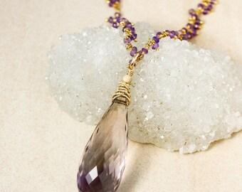CHRISTMAS SALE Gold Purple Ametrine Teardrop Necklace on Purple Amethyst Chain - Layering Necklace