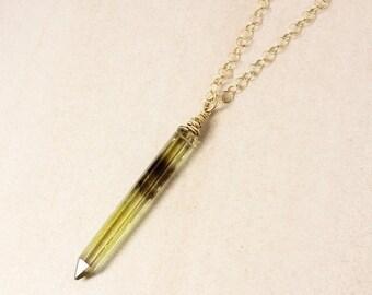 VALENTINE SALE Bi-Colour Quartz Crystal Necklace – 14K Gold Filled Chain