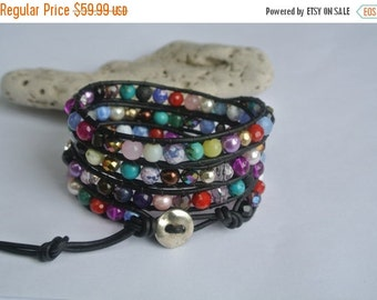 30% OFF SALE Confetti Mixed Stone Beaded Black Leather Wrap Bracelet