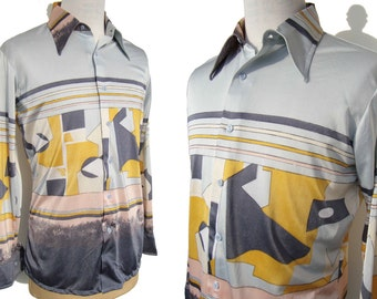 Vintage Hukapoo Shirt Mens 70s Disco Abstract Modernist Pop Art Block Print L