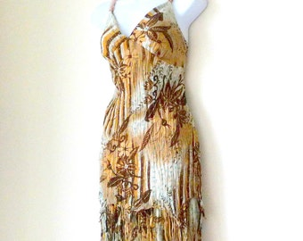 Strappy Dress - Boho - Sexy - Browns - Turquoise - Gold Metallic - Lightweight - Floral - Flower - Recycled - Sz Medium - Resort - Festival