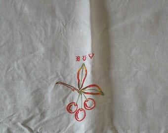 vintage embroidered linen handtowel