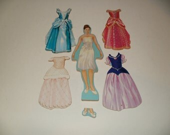 Vintage Wooden Princess Figure with Magnetic Backed Stick on Dresses and Shoes - Unique Collectible