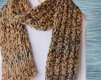 Tan Scarf, Chunky Brown Scarf, Warm Winter Scarves, Soft Knit Scarf, Chunky Knitted Scarf, Gift Idea for Him, Gift for Her