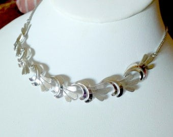 Vintage Sterling Silver Van Dell Designer .925 Textured Scroll Cluster Collar 13g Necklace 15.75""
