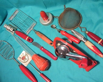 Large Lot Vintage Mid Century Kitchen Utensils, Red Handle Kitchen Tools, Utensils From 50's 60's and 70's, Rustic Serving Tools, Utensils