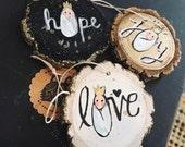 HOPE, JOY, LOVE ornaments