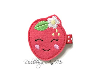 Red Strawberry Hair Clip, Toddler Hair Clips, Strawberry Hair Clip, Felt Hair Clips, Food Hair Clips, Summer Hair Clips, Red Hair Clips,