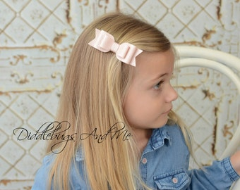 Pale Pink Leather Hair Bow, Light Pink Bow, Leather Hair Bow, Piggy Tail Bow, Bows For Toddlers, Spring Hair Bows, Easter Hair Bow,
