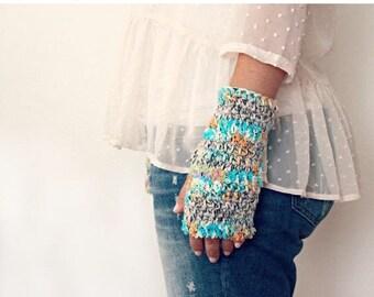 Sale Fingerless Gloves- Mint Orange White Fingerless Gloves- Gift for Her- Crochet Gloves- Womens Knit Gloves- Half Finger Gloves- Pastel