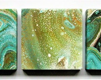"Ocean Dream - SET of 3 4"" x 4"" Abstract modern fluid art painting with cells"