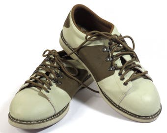 Mens Cream and Brown Brunswick Bowling Shoes Vintage 1980s Leather Rockabilly Oxfords Size 9