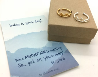 Silver or Gold Mountain Ring, Dainty Mountain, carded Today is your day... Birthday gift, graduation gift, new beginnings, adventure jewelry