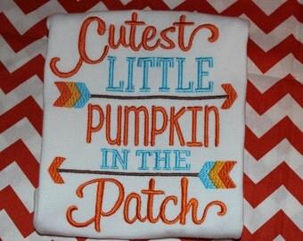 Cutest Pumpkin in the Patch Shirt- bodysuit, tshirt, or dress- boy or girl