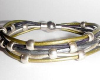 Leather Bracelet Kit- Silver Springs- Stormy Nights