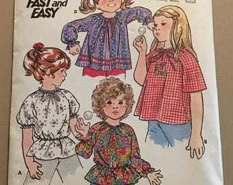 Vintage Butterick 5254 Children Girls Sewing Pattern Size Medium ©1970's