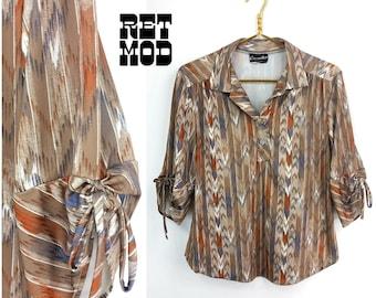 Cool Vintage 70s Brown, Blue & White Ikat Aztec Ethnic Stripe Pattern Blouse!