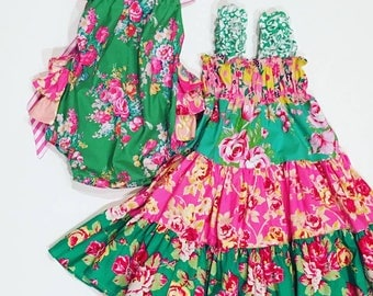 Pink and Green Twirly Sundress