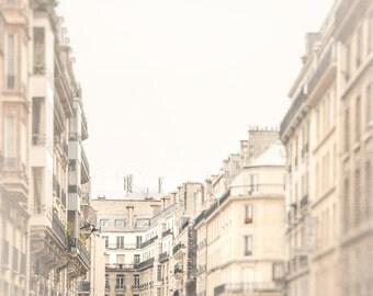 Photograph of Paris Architecture Along Parisian Street, Travel Art, Landscape Photography, soft grey, muted beige, blush pink, Parisian home
