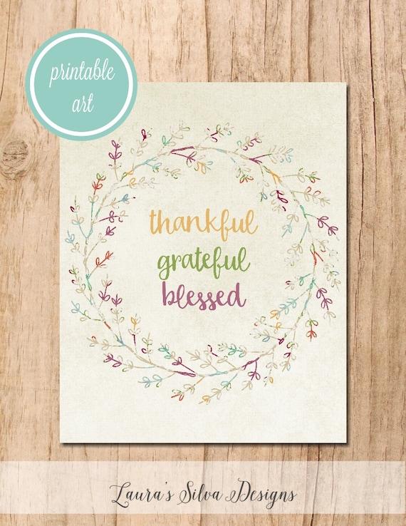 Grateful Thankful Blessed Wreath Printable Art