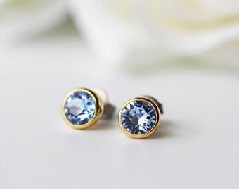 Small Light Sapphire Blue Swarovski Crystal Titanium Gold Stud Earrings Simple Everyday