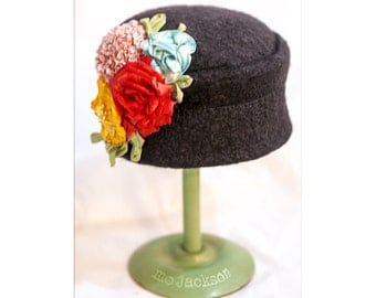 hat wool felt mo chapeau with bountiful bouquet / cloche