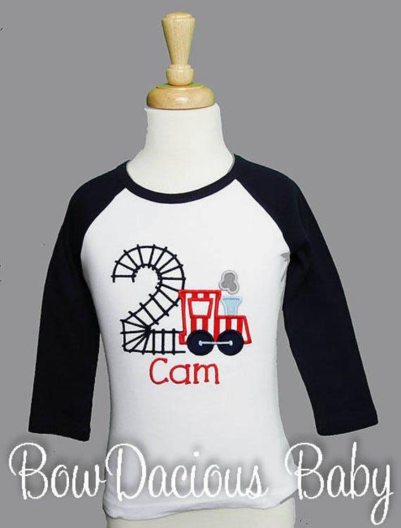 Train Birthday Shirt Boys 1st Girls Custom Personalized Raglan
