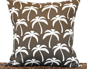 Brown Outdoor Pillow Cover Cushion Palm Trees White Coastal Tropical Indoor Decorative 18x18