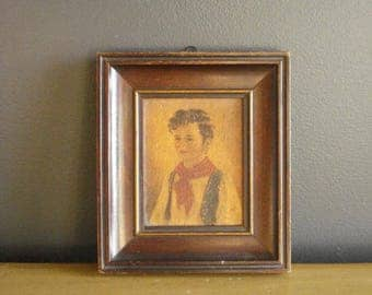 Chiko - Vintage Wood Frame with Print of Chiko - Child with Red Handkerchief - Young Boy Vintage Print - Anne Allaben
