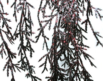 40 inch Droopy Pine Stem Black and Red Glitter Shimmer - Odd Floral, Floral Accent