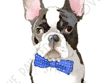 Print - French Bulldog with a Bow Tie - 8.5 x 11
