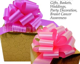 "6 Large 9"" Fuchsia Hot Pink or Azalea Pull Bows Breast Cancer Awareness Fundraising Ribbon"