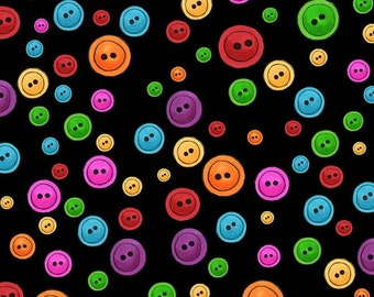 Loralie Designs Sew Fabulous Black Button Dots Novelty Fabric by the yard 691-985