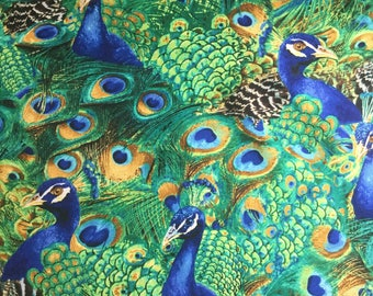 Timeless Treasures - Exotic Large Peacock - Teal Fabric by the yard or select cut C5299-TEAL