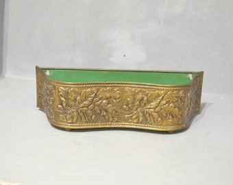 Vintage Oblong Brass Planter Wall Pocket w Acorn & Oak Leaf / Hanging Double Flower Pot Box Footed Container Mid Century Modern Cottage Chic