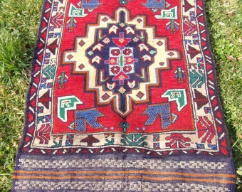 """Rich Red Baluchi rug/kilim from Afghanistan. 4ft 10"""" x 2 ft 7. 147 x 83 cm Hand woven."""