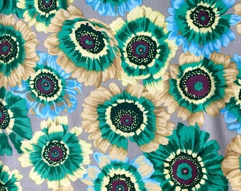 Philip Jacobs Painted Daisies, green, Kaffe Fassett collective, rare, OOP, the, Floral Daisy fabric, half yard