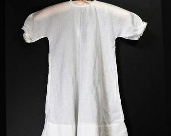 Antique Vintage White Cotton Christening Gown, White Lace Cotton Doll Dress, Batiste Cotton Doll Dress
