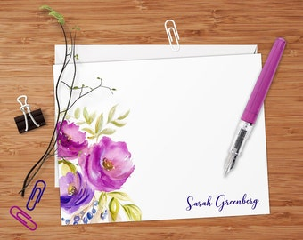 Fuchsia Purple Watercolor Flowers - Set of 8 CUSTOM Personalized Flat Note Cards/ Stationery