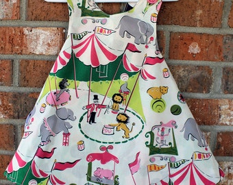 Circus Themed Toddler OOAK Tunic in Cream and Pink Sized 12 months to 24 months Ready to Ship